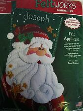 "FELT JEWELED SEQUINED SANTA CHRISTMAS STOCKING KIT DIMENSIONS 18"" LONG"