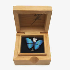 David Mora Painted Wood Butterfly Pendant Sterling Silver Bail With Wood Box
