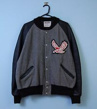 Vintage Varsity Jacket in Grey Genuine Leather Sleeves Bomber USA 2XL XX-Large