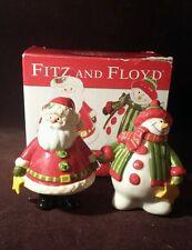 Fitz & Floyd Holiday Folk Santa and Snowman Christmas Salt and Pepper in Box