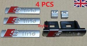 Grade B Audi S Line Badges Emblems 1x Grille 3x Sticker for A3 A4 A5 A6 A8 TT Q7