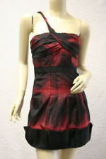 $378 BCBG RED COMBO (FUT6C308) ONE SHOULDER WOVEN DRESS NWT 08