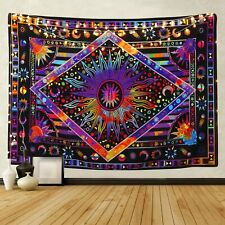 "BLEUM CADE Tie Dye Purple Burning Sun Tapestry 92.5""x70.8"""