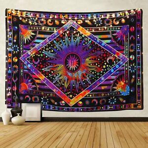 "BLEUM CADE Tie Dye Purple Burning Sun Tapestry 92.5""x70.8"""