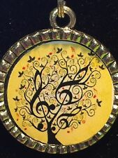 "Tree of Life Music Notes on Yellow Tibetan Silver with 18"" Necklace TLM2"