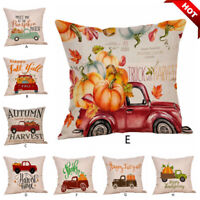 "18X18"" Fall Halloween Pillow Case Sofa Pumpkin Cushion Linen Cover Home Decor aa"