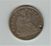 1876 SEATED HALF DOLLAR - VERY HIGH GRADE COIN - HOLED - NATURAL TONING