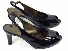 Liz Claiborne Black Patent Leather Peep Toe High Heels 6 M US Excellent