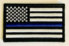 Thin Blue Line American Flag Patch Police SWAT Hook & Loop Backing Support 🇺🇸
