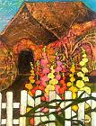 HOLLYHOCK COTTAGE Artist Signed Print Lynne French 8x11