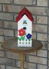 New listing Handcrafted Decorative Bee Happy Birdhouse with floral Decor