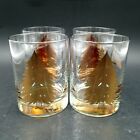 Vintage Georges Briard Double Old Fashioned Glass Tumblers Gold Pine Tree Set 4