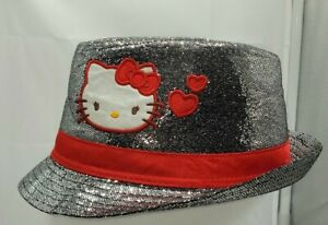 Adorable Sanrio Hello Kitty Blinged Fedora Hat W/Embroidery Red Satin Band