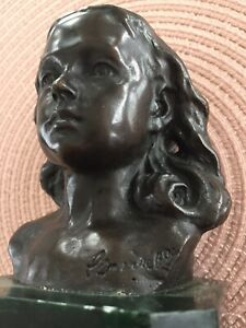 Signed Bronze Bust Of A Young Girl