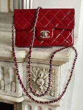 AUTHENTIC CHANEL CLASSIC FLAP RED PATIENT LEATHER MINI BAG CROSSBODY SILVER 2.55