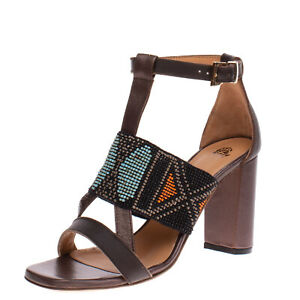 RRP €260 MALIPARMI Leather T-Strap Sandals Size 37.5 UK 4.5 US 7.5 Beaded Strap