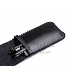 Pouch Bag Holder Black PU Leather Pencil Fountain Pen Storage Case For Pens