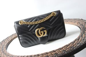 Auth Gucci GG Marmont Handbag Gucci Matelasse Shoulder Bag black GG