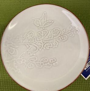 Pier 1 Imports Set of 4 Terra Cotta Appetizer Plates White Floral Fauna B20