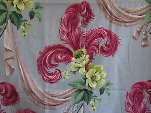 Stunning Vintage SUPER NUBBY Hot PINK PLUMES & Electric Lime ROSES BARKCLOTH x5