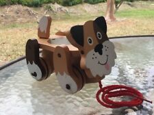 Melissa & Doug Wooden Wobbly Wheeled Brown Puppy Dog Pull Toy Toddler