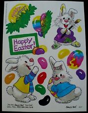 VINTAGE SUZY'S ZOO HAPPY EASTER 14 STICKERS 1 SHEET RABBITS BUNNIES JELLY BEANS