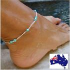 Turquoise Beads Silver gold Chain Anklet Ankle Bracelet Foot Beach Feet Jewelry