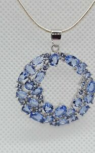 ❤JAYNES GEMS  STUNNING  5CT TANZANITE PENDANT  AND 20INCH  CHAIN  925 SILVER.