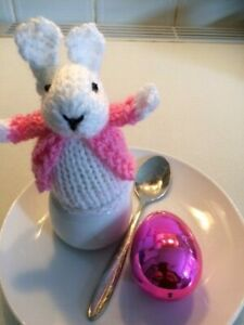 Pink coated Hand Knitted Easter Bunny cream egg cosy cover white rabbit