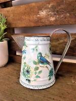 Floral Metal Jug Country Vintage Flower Bird Vase Pitcher Wedding Decoration