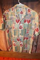 Ho Aloha Made in Hawaii S/M (NO SIZE TAG) Green Blue Red Men's Shirt