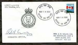 Canada Military 1991 CFB Trenton MPO 303 BPM Postmark on Cover. CO Signed (p1906