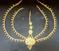 22K Gold Plated 1 Pc 5  Lines Matha Tikka Wedding Indian Set Maang Tikli aa