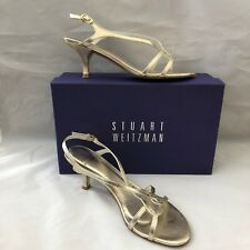 "STUART WEITZMAN ""REVERSAL"" GOLD KID LEATHER STRAPPY HEELS 38 7.5W BOX DUST BAG"