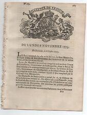 1775 RARE GAZETTE de FRANCE DITE RENAUDOT N° 89 + SUPPLEMENT GUERRE AMERIQUE