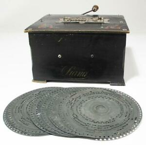 """Antique Polyphon Music Player and 16 Discs 164mm 6 3/8"""" Diameter"""