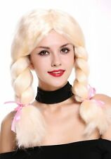 Wig Ladies Carnival Cosplay Thick Pigtails light blond centre parting CUTE