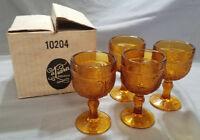 Vtg Tiara Exclusives Sandwich Pattern Amber Set of 4 Wine Glasses (circa 1970s)