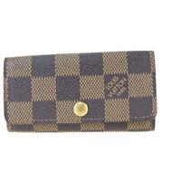 Auth Louis Vuitton Damier Multicule 4 N62631 Leather Key Case Ebene 08GB063
