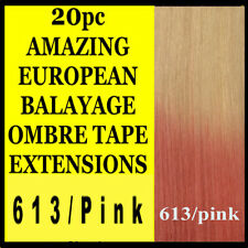 """22"""" TAPE SKIN WEFT 613/PINK BALAYAGE OMBRE REMY HUMAN HAIR EXTENSIONS Blonde"""