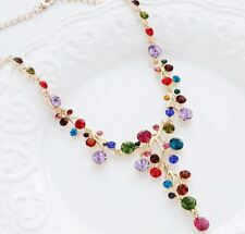 MULTI-COLOUR FLOWER  DROP NECKLACE WITH ACRYLIC CRYSTALS GOLD TONE FINISH