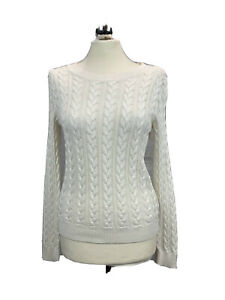 H&M Cotton Blend Round Neck Cable Knit Jumper Cream Size 10 Casual Layering Chic