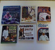 Cookbook lot(6)HB Famous Chefs, Chappellet, Leach, Puck, Wolf, Emeril, Szathmary