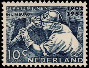 ✔️ NETHERLANDS 1952 - COAL MINING - NVPH 582 ** MNH OG