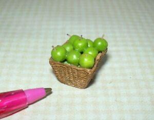 Miniature Resin Wicker Basket of Granny Smith Apples DOLLHOUSE 1:24 (HALF) Scale