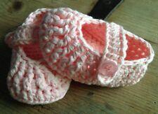 Patucos Rosas 3/6 Meses Zapato Recién Nacido Algodón Nuevo Artesanal Bebe