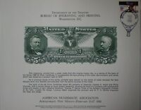 BEP Souvenir Card B 46 ANA 1980 back 1896 $5 silver certificate Show Cancelled