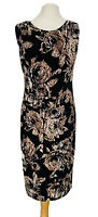 Phase Eight Black And Brown Winter Floral Dress With Stretch Size 14