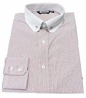 Pin collar Burgundy/white Long Sleeved Vintage/Retro Mod Button Down Shirts