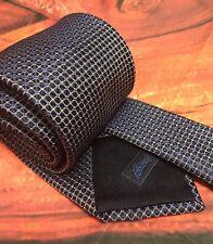 "Brioni Blue Tie Handmade Silk Woven Geometric Italy Long Necktie 64"" L 3.5"" W"